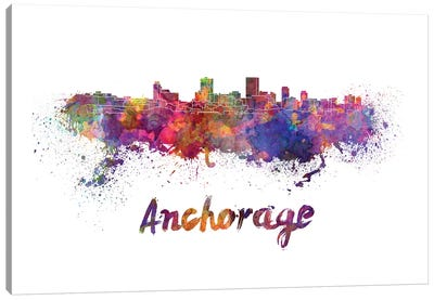 Anchorage Skyline In Watercolor Canvas Art Print