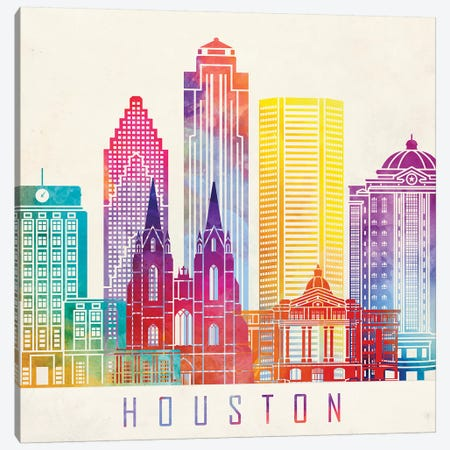 Houston Landmarks Watercolor Poster Horizontal Canvas Print #PUR351} by Paul Rommer Canvas Wall Art