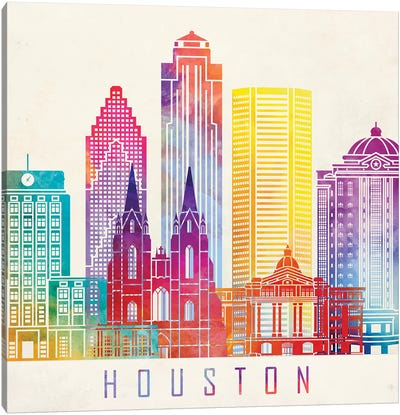 Houston Landmarks Watercolor Poster Horizontal Canvas Art Print