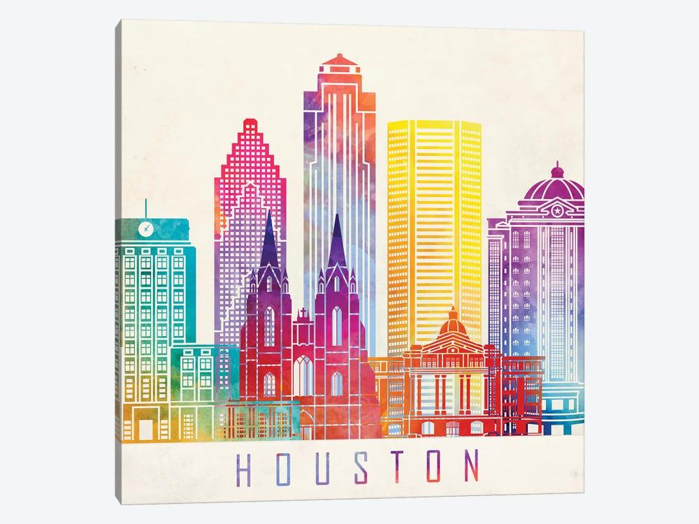 Houston Landmarks Watercolor Poster Horizontal by Paul Rommer 1-piece Canvas Art Print
