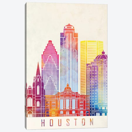 Houston Landmarks Watercolor Poster Vertical Canvas Print #PUR352} by Paul Rommer Canvas Wall Art