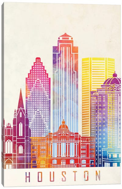 Houston Landmarks Watercolor Poster Vertical Canvas Art Print