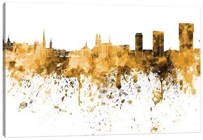 Zurich Skyline In Orange Canvas Art Print