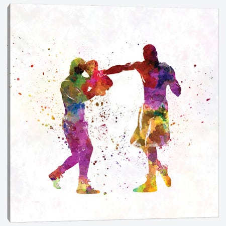 Boxers In Watercolor Canvas Print #PUR3563} by Paul Rommer Canvas Wall Art