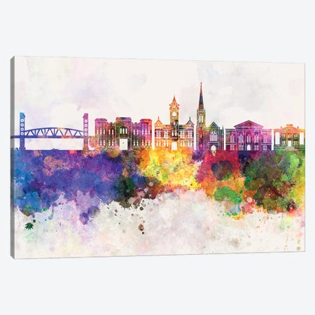Wilmington NC Skyline Watercolor Background Canvas Print #PUR3583} by Paul Rommer Canvas Art