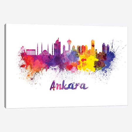 Ankara Skyline In Watercolor Canvas Print #PUR35} by Paul Rommer Canvas Wall Art
