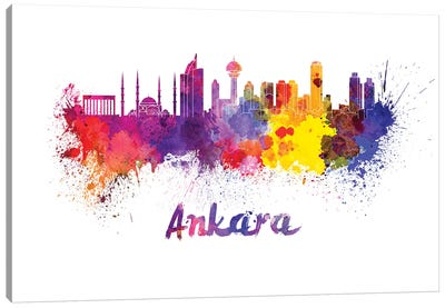 Ankara Skyline In Watercolor Canvas Art Print