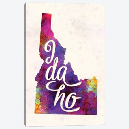 Idaho US State In Watercolor Text Cut Out Canvas Print #PUR361} by Paul Rommer Art Print