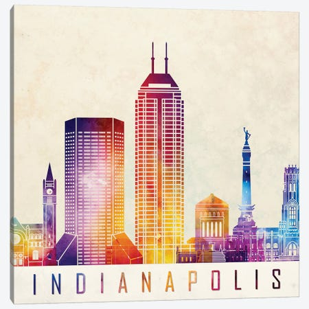 Indianapolis Landmarks Watercolor Poster Canvas Print #PUR364} by Paul Rommer Canvas Wall Art