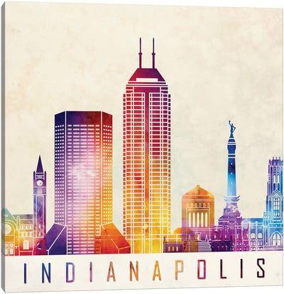 Indianapolis Landmarks Watercolor Poster Canvas Art Print