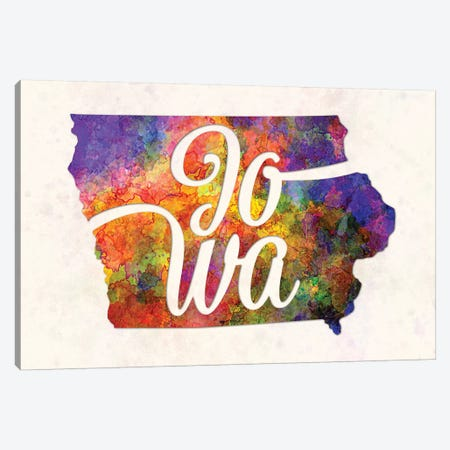 Iowa US State In Watercolor Text Cut Out Canvas Print #PUR365} by Paul Rommer Canvas Artwork