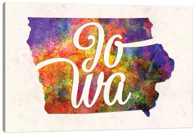 Iowa US State In Watercolor Text Cut Out Canvas Art Print