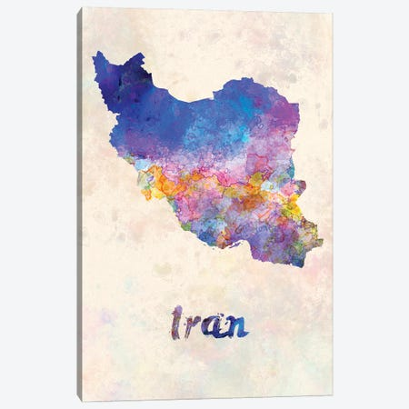 Iran In Watercolor Canvas Print #PUR366} by Paul Rommer Canvas Art