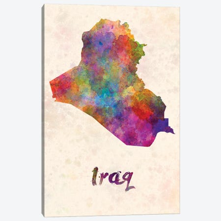 Iraq In Watercolor Canvas Print #PUR367} by Paul Rommer Canvas Art