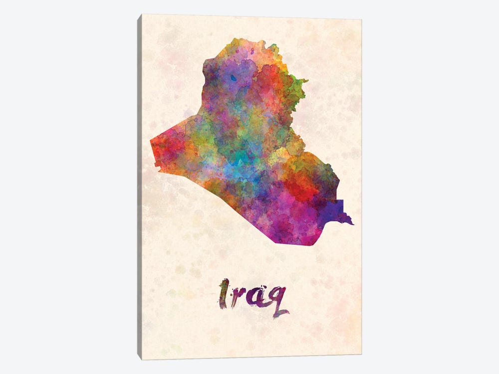 Iraq In Watercolor by Paul Rommer 1-piece Canvas Art