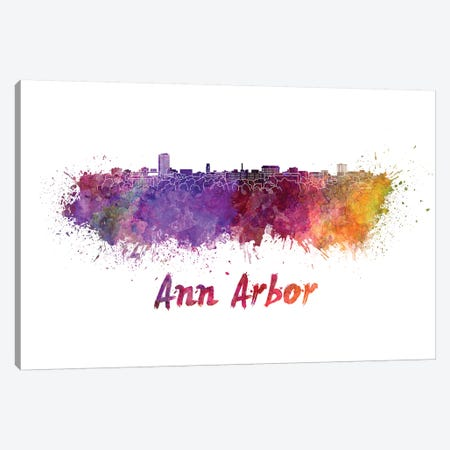 Ann Arbor Skyline In Watercolor Canvas Print #PUR36} by Paul Rommer Canvas Wall Art