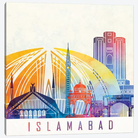 Islamabad Landmarks Watercolor Poster Canvas Print #PUR374} by Paul Rommer Canvas Print