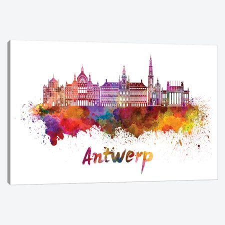 Antwerp Skyline In Watercolor Canvas Print #PUR37} by Paul Rommer Canvas Wall Art