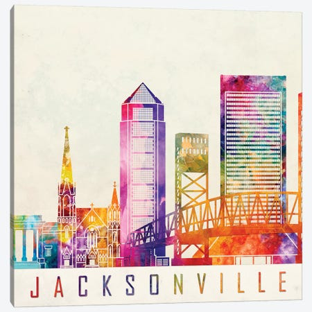 Jacksonville Landmarks Watercolor Poster Canvas Print #PUR382} by Paul Rommer Art Print