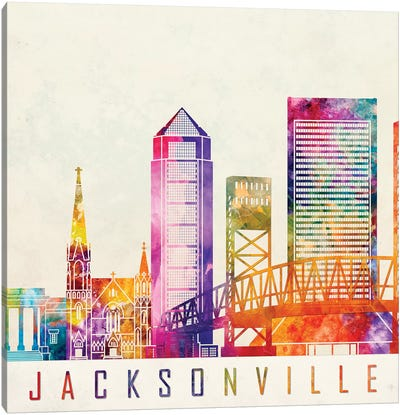 Jacksonville Landmarks Watercolor Poster Canvas Art Print
