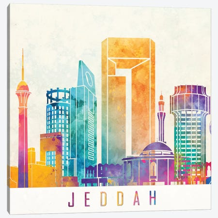 Jeddah Landmarks Watercolor Poster Canvas Print #PUR387} by Paul Rommer Canvas Art