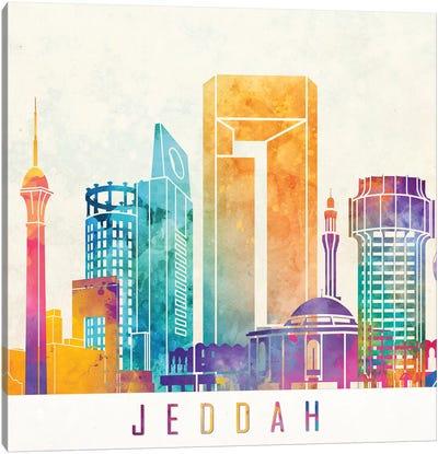 Jeddah Landmarks Watercolor Poster Canvas Art Print