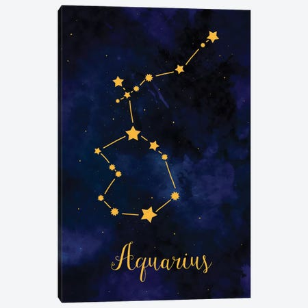 Aquarius Zodiac Horoscope 3-Piece Canvas #PUR38} by Paul Rommer Art Print