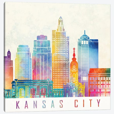 Kansas City Landmarks Watercolor Poster Canvas Print #PUR391} by Paul Rommer Canvas Art