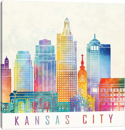 Kansas City Landmarks Watercolor Poster Canvas Art Print
