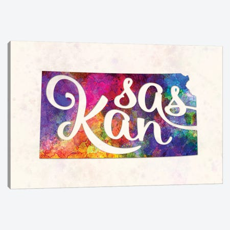 Kansas US State In Watercolor Text Cut Out Canvas Print #PUR392} by Paul Rommer Canvas Art