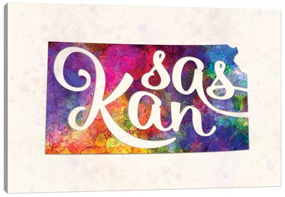Kansas US State In Watercolor Text Cut Out Canvas Art Print