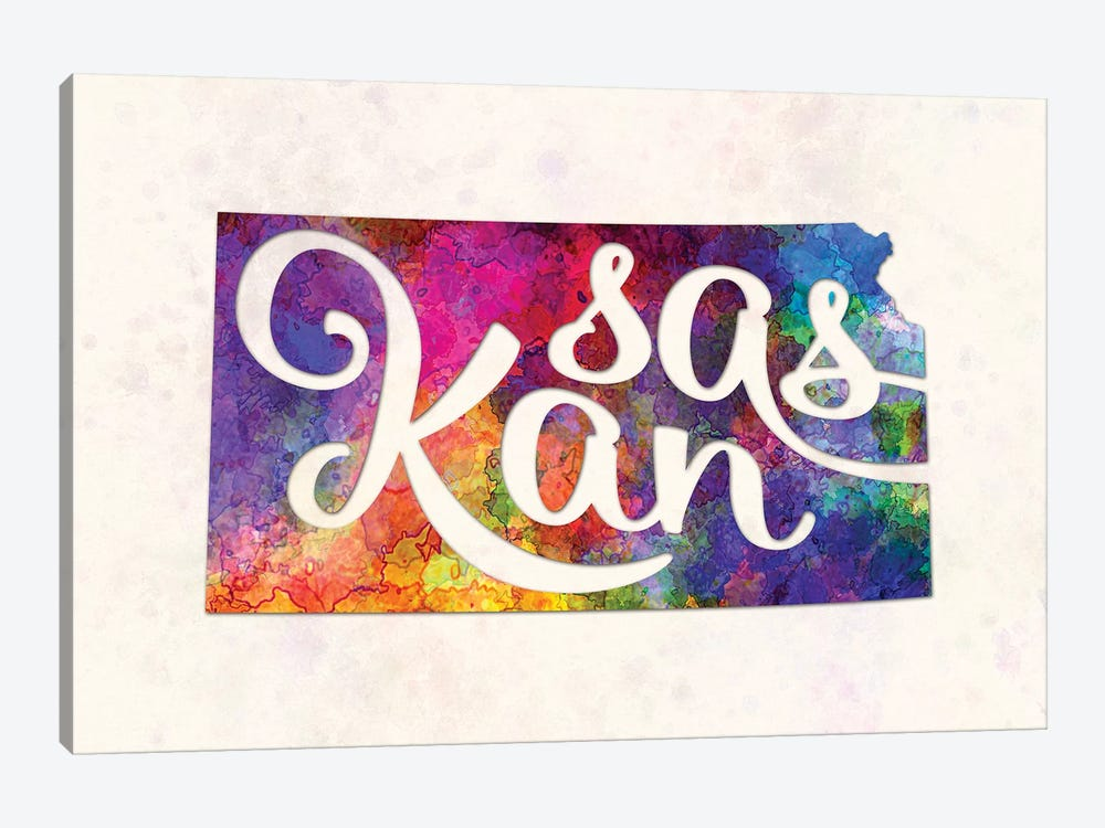 Kansas US State In Watercolor Text Cut Out by Paul Rommer 1-piece Canvas Wall Art