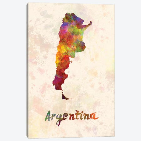 Argentina In Watercolor Canvas Print #PUR39} by Paul Rommer Canvas Art Print