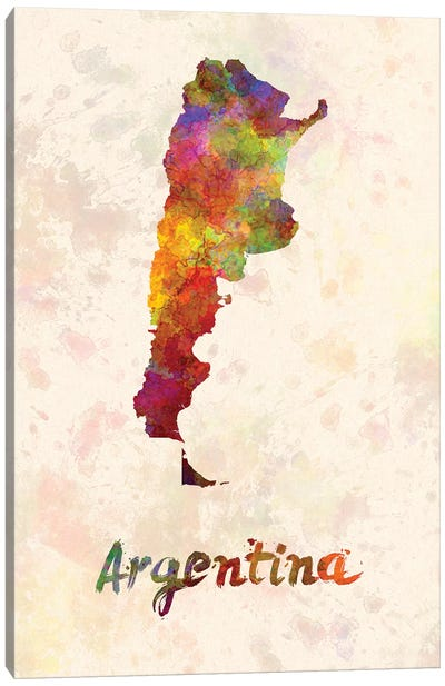 Argentina In Watercolor Canvas Art Print