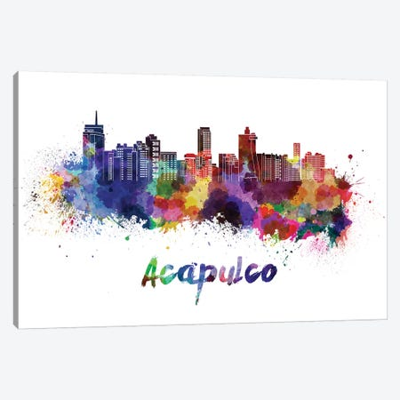 Acapulco Skyline In Watercolor Canvas Print #PUR3} by Paul Rommer Canvas Wall Art