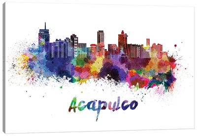 Acapulco Skyline In Watercolor Canvas Art Print