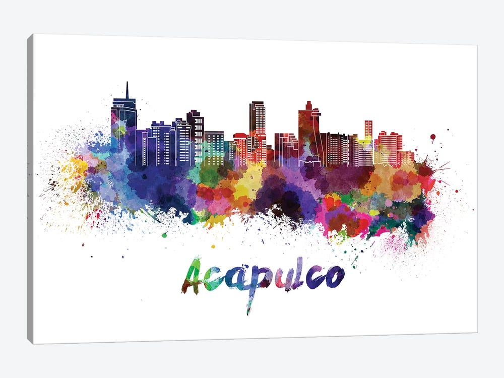 Acapulco Skyline In Watercolor by Paul Rommer 1-piece Canvas Art Print