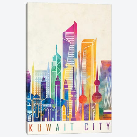 Kuwait City Landmarks Watercolor Canvas Print #PUR405} by Paul Rommer Canvas Art Print