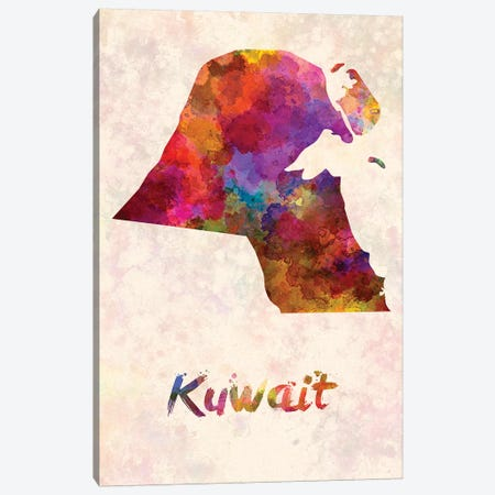 Kuwait In Watercolor Canvas Print #PUR406} by Paul Rommer Art Print