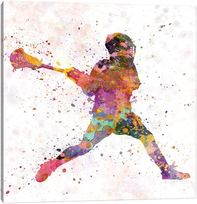 Lacrosse Man Player III Canvas Art Print