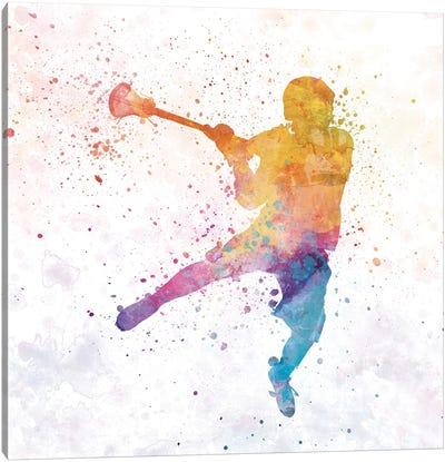 Lacrosse Woman Player 01 Watercolor Canvas Art Print