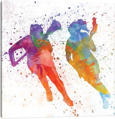 Lacrosse Women Players 02 In Watercolor Canvas Art Print