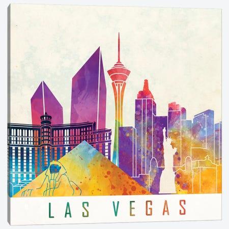 Las Vegas Landmarks Watercolor Poster Canvas Print #PUR417} by Paul Rommer Canvas Artwork