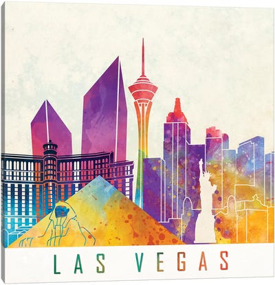 Las Vegas Landmarks Watercolor Poster Canvas Art Print