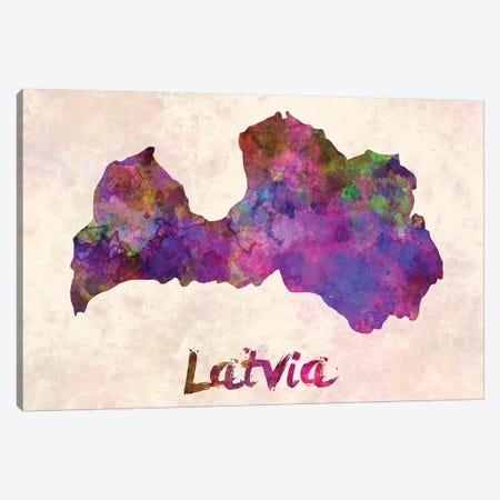 Latvia In Watercolor Canvas Print #PUR418} by Paul Rommer Art Print
