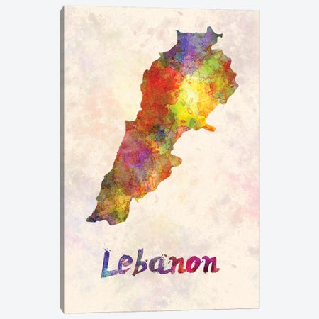Lebanon In Watercolor Canvas Print #PUR419} by Paul Rommer Canvas Art Print