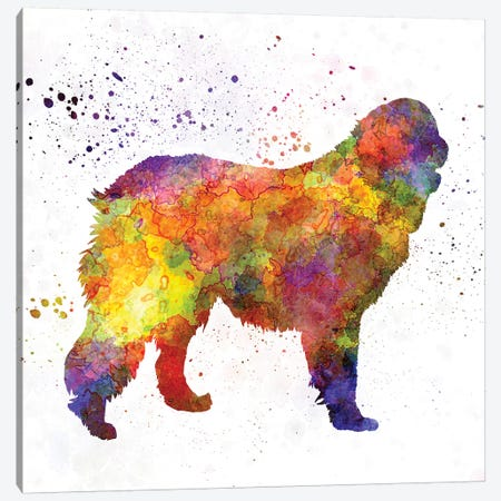 Leonberger In Watercolor Canvas Print #PUR420} by Paul Rommer Canvas Wall Art