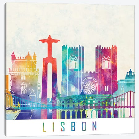 Lisbon Landmarks Watercolor Poster Canvas Print #PUR422} by Paul Rommer Canvas Wall Art