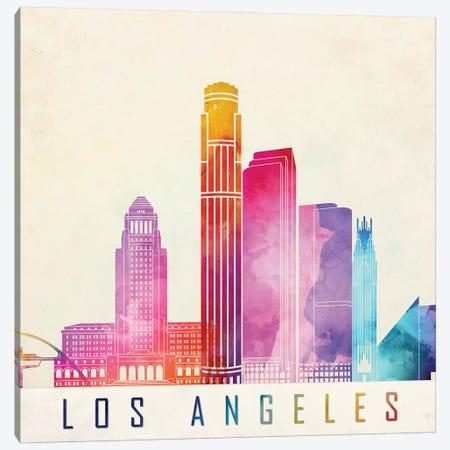 Los Angeles Landmarks Watercolor Poster Canvas Print #PUR431} by Paul Rommer Art Print