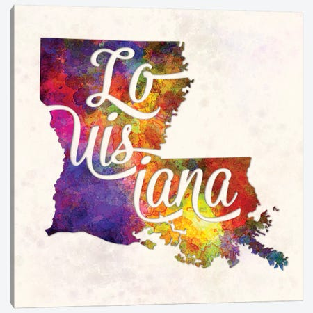 Louisiana US State In Watercolor Text Cut Out Canvas Print #PUR433} by Paul Rommer Canvas Print